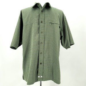 The North Face Green Checkered Button Shirt Large